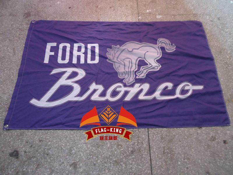 Ücretsiz kargo% 100 polyester 90 * 150 CM.Ford Bronco Otomobil Fuarı bayrak, araba marka logosu afiş, Dijital Baskı