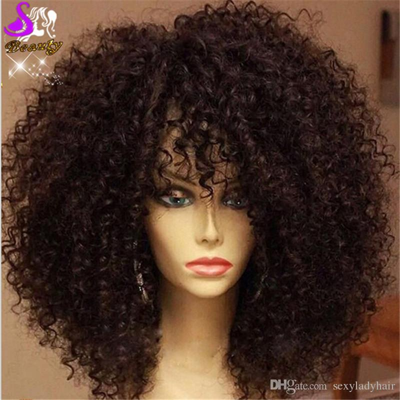 Cheap Sale Kinky Curly Wig Black Natural Lace Front Wig Synthetic Lace Front Wigs with bangs Heat Resistant