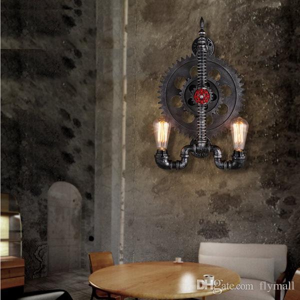 New High Quality Loft Creative Iron Industrial Gear Retro Wall Lamp Water Pipe Wall Light Bar Cafes Restaurant Corridor Gear Wall Lights