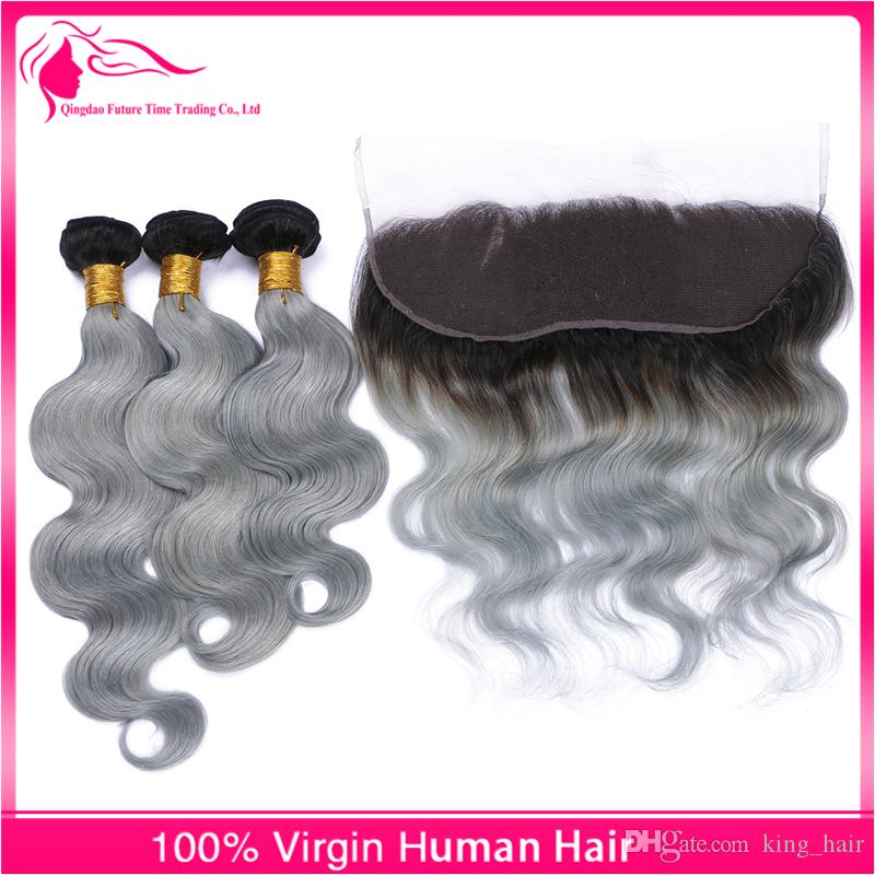 Hot Lace Sale Frontals With Brazilian Virgin Body Wave Hair Bundles Ombre #1B/Grey Two Tone Hair Weaves With Lace Frontal