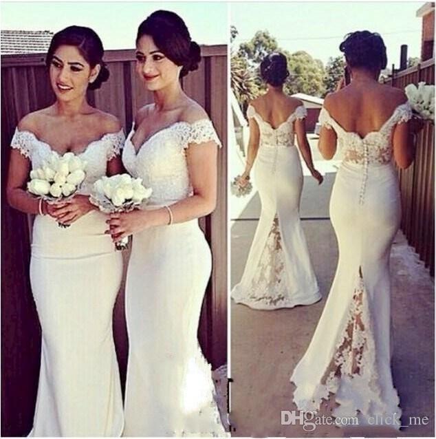 リアルイメージロングマーメイドの花嫁介添人ドレスレースオフショルダースイープ列車コルセット結婚式ゲストドレス覆われたボタンバックパーティーガウン