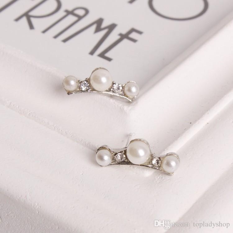 Orecchino della vite prigioniera delle signore dei diamanti di cristallo delle perle dell'orecchino minimo 3 della vite Trasporto libero all'ingrosso
