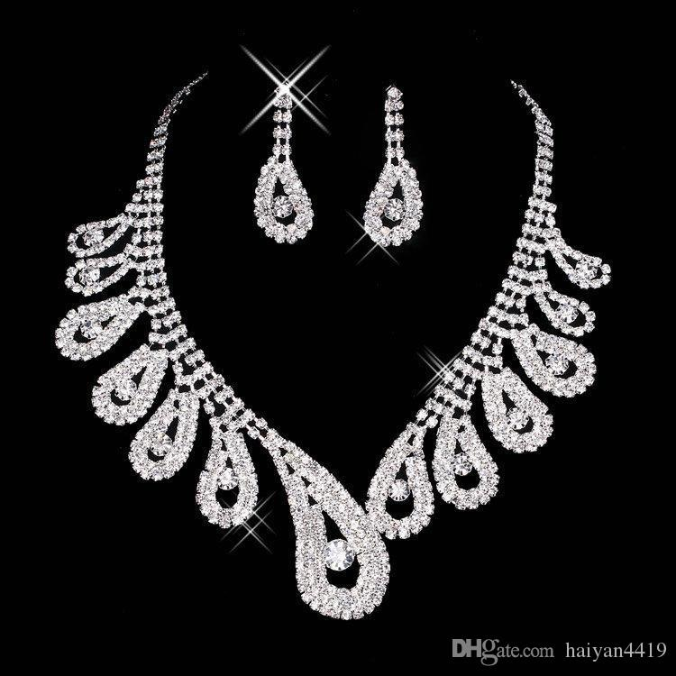 2016 Crystal Bridal Jewelry Set silver plated necklace diamond earrings Wedding jewelry sets for bride Bridesmaids women Bridal Accessories