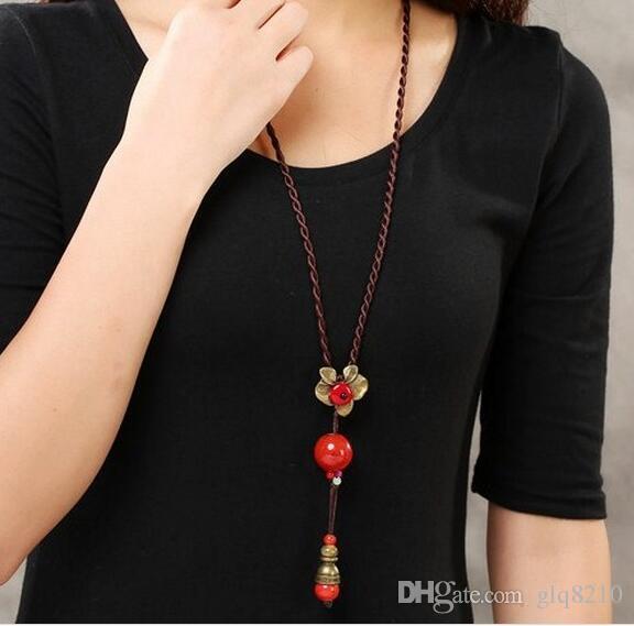 perles glands fleur vintage collier pendentif Simulations pierres précieuses pull à longues chaînes femmes élégantes à la main Bijoux Nouvelle arrivée /