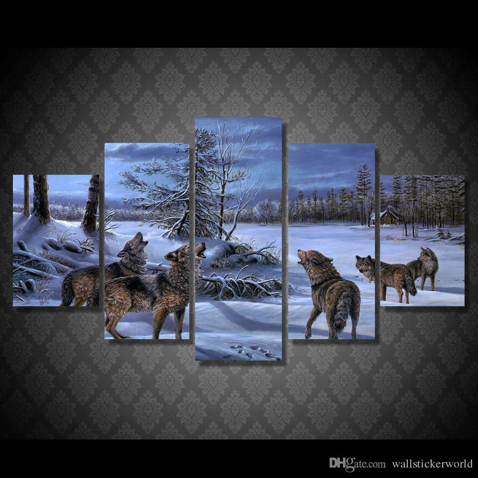 5 Pcs/Set Framed Printed Snow wolves Painting Canvas Print room decor print poster picture canvas Free shipping/ny-5001
