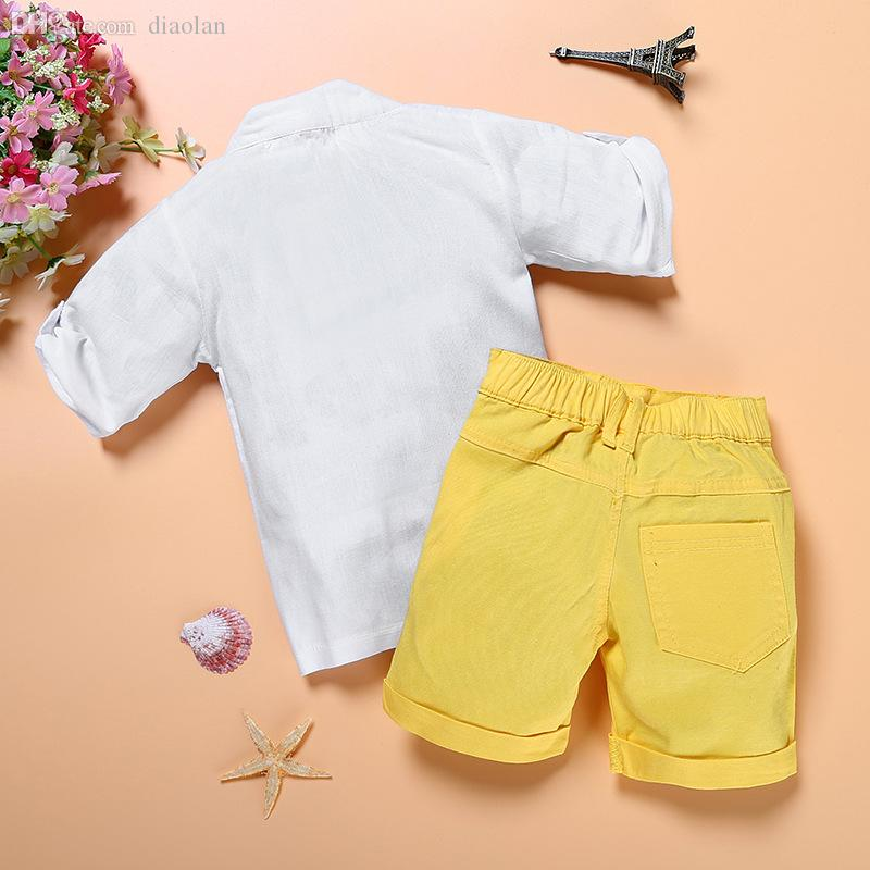 34a10d116baa Wholesale-Baby Boy Clothing Set White T-Shirt And Yellow Short Jeans ...