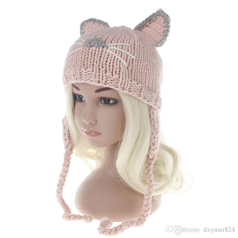 Newborns Baby Cute Cartoon Cat Ears Hat Kids Autumn Winter Warm Knitted Earflaps Cap Girls Boys Casual Crochet Earmuffs Cap Beanies
