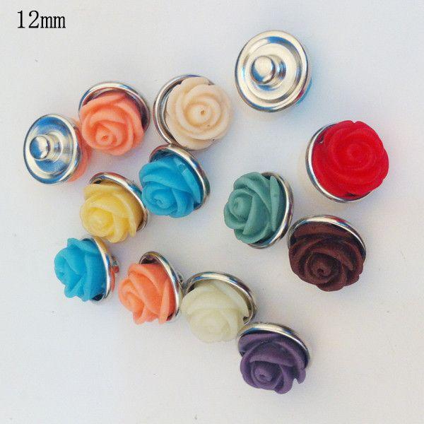 / mélanger les couleurs mode plastique résine noosa morceaux rose fleur en métal gingembre 12 MM boutons-pression pour les résultats de bijoux de bricolage