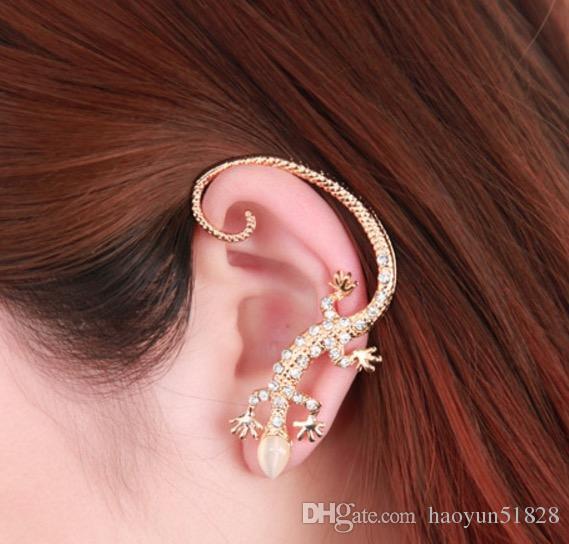 Fashion Ear Cuff Rhinestone earrings ear Cuff Luxury elegant golden Silver Plated exaggerated gecko lizard stud earrings Jewelry