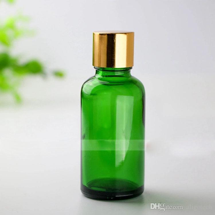 Frete grátis 30 ml frasco conta-gotas de vidro verde, 30 ml frasco de vidro verde com preto, prata, tampas de ouro, 1OZ garrafas de vidro cosmético
