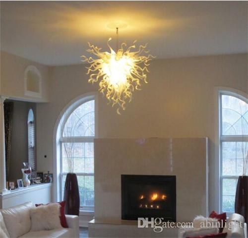 Classic 100% Hand Blown Hanging Chandelier Living Room White Clear LED Glass Modern Home Lighting Fixture