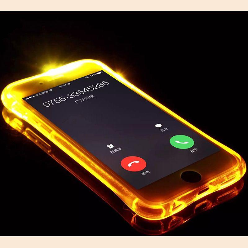 Barato tpu + pc led flash light up case lembrar a chamada de entrada capa para iphone xr xs max 8 plus samsung s8 s8 + note9 8