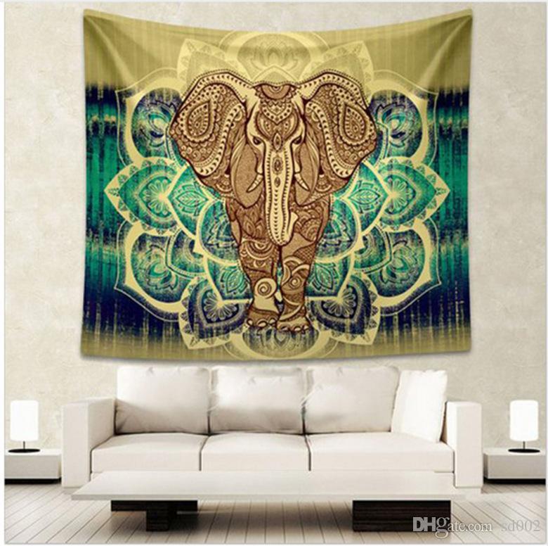 Bohême Style Yoga Tapis Décoratif Mandala Hippie Art Tenture Murale Tapisserie Éléphant Impression Serviette De Plage Mode 17ca C