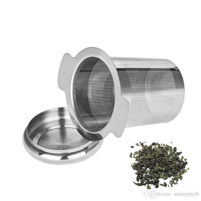 Reusable Stainless Steel Tea Infuser Basket Fine Mesh Strainer with 2 Handles Lid Tea and Coffee Filters for Loose Tea Leaf LZ0184