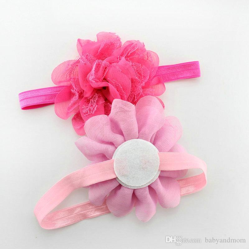 2020 New Childrens Accessories Hair Flowers Chiffon Lace Headbands Baby Hair Accessories Girls Headbands Children Hair Accessories
