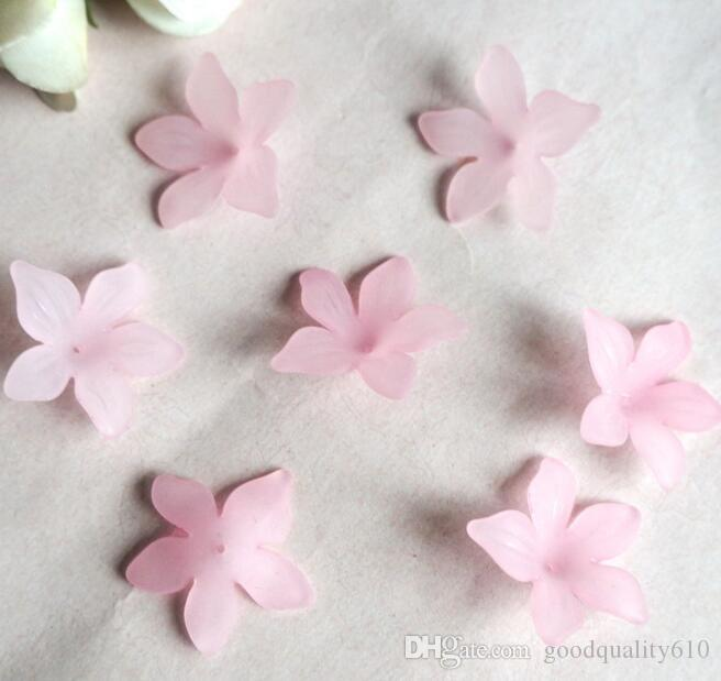 29mm Beautiful Transparent Acrylic Flower Beads With Hole For Hair Peice Tiaras Jewelry Scrapbooking Craft DIY