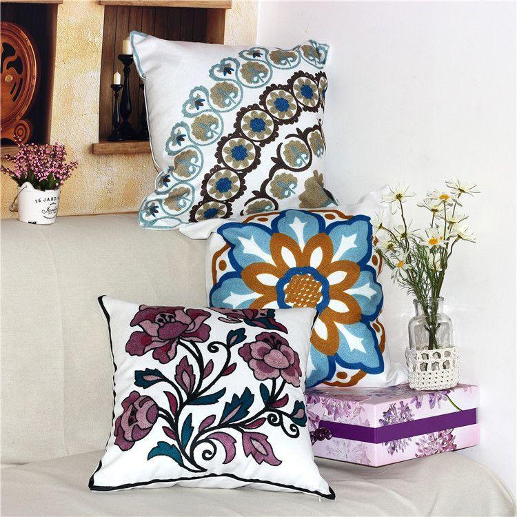 Cushion Covers Korean Printing Cross Stitch Fabric Sofa Pillow