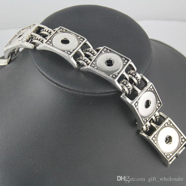 2016 New NOOSA Interchangeable 18mm Snap Button Bracelet Popper Chunks Charm Bracelet Square Patterns Button Bangle