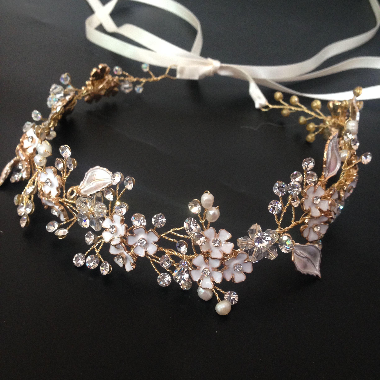 Flower Tiara Crown Gold Enamel Flower Vine Wedding
