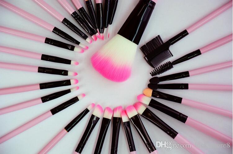 pinceaux de maquillage professionnel bois rose noir mini Set pinceau cosmétique Set Roll Up cas Eyeliner fard à paupières pinceau maquillage