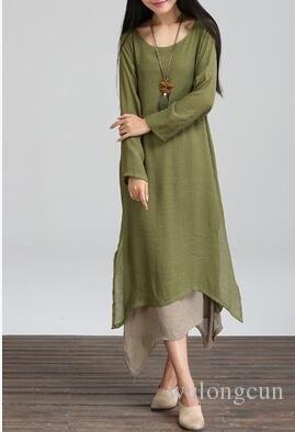 1a7f2e47234ed Plus Size Summer Cotton Vintage Dress Women O-Neck Long Sleeve Casual Loose  Boho Long Maxi Dresses Vestidos wholesale 3pcs/lot