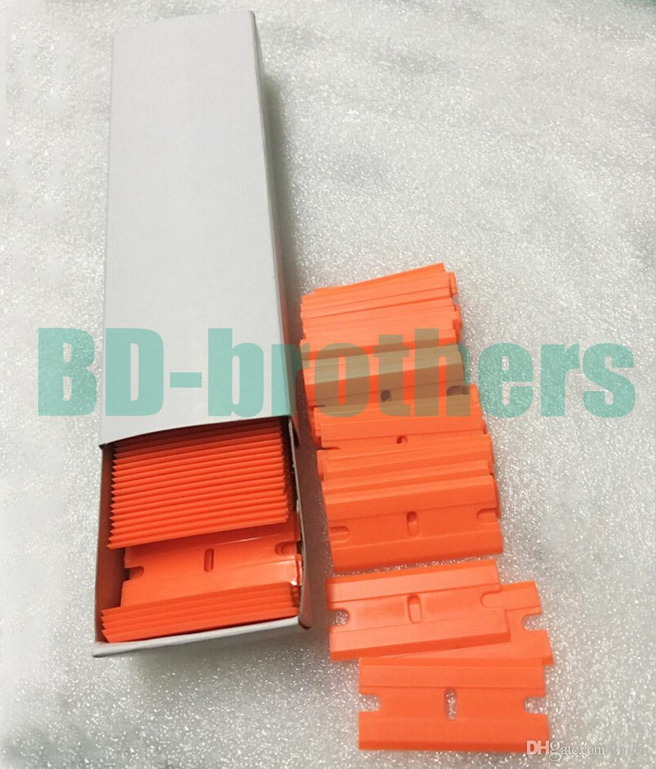 Wolesale Laranja Lâminas de Plástico Raspador de Barbear Lâminas de Barbear de Plástico de Dois Gumes Rodo 5000 pçs / lote