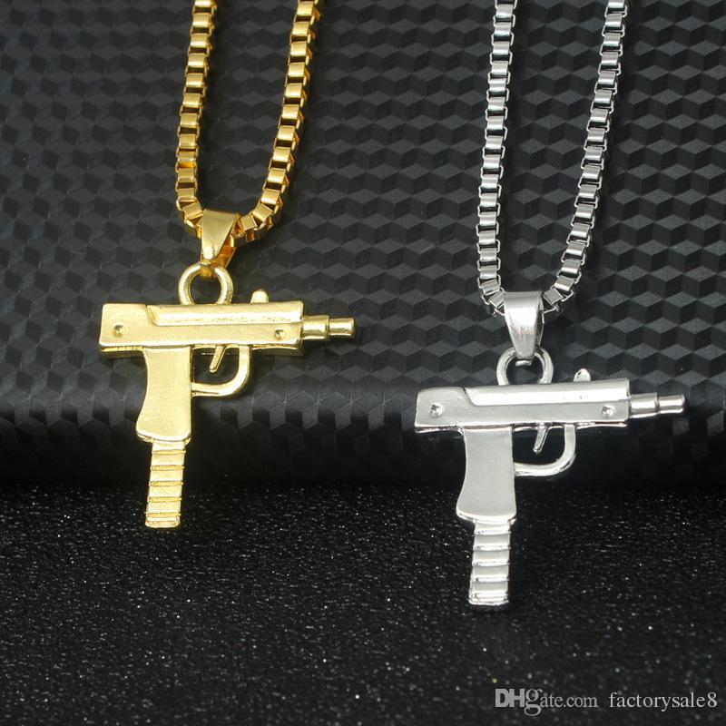 Uzi Gold Kette Hip Hop Anhänger Halskette Männer Frauen Fashion Brand Gun Form Pistole Anhänger Maxi Halskette HIPHOP Schmuck