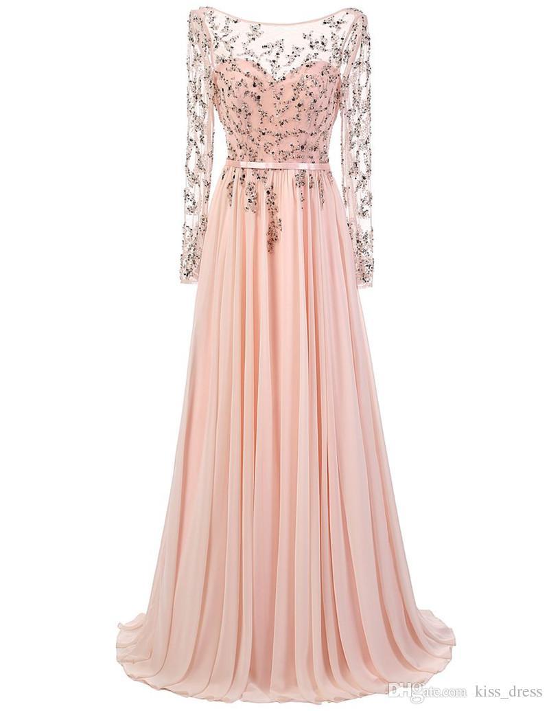 Abiti da sera rosa chiaro stile elegante Appliques in rilievo manica lunga Chiffona Lunghezza pavimento Abiti da festa ragazze su misura