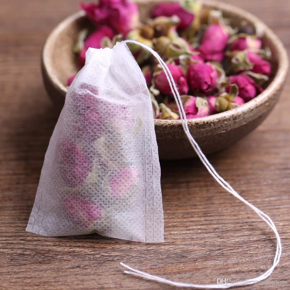 Bustine di tè 5,5 x 7 cm 8 * 10 cm 7x9 cm bustine di tè profumate vuote con stringhe guariscono sigillo carta da filtro erba allentato tè bolsas de te