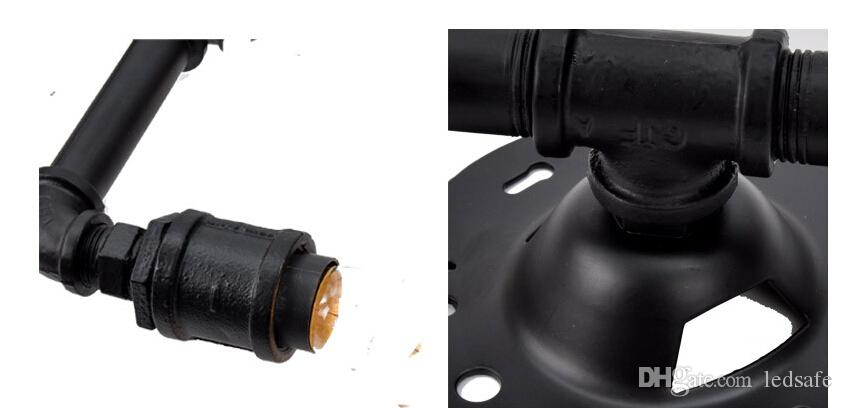 الشمعدانات الجدار مصباح أنابيب المياه LED إضاءة الأنوار مع محفظة الشعيرة LED لمبات براون شل أسود للداخلية خمر ريترو الداخلية الديكور