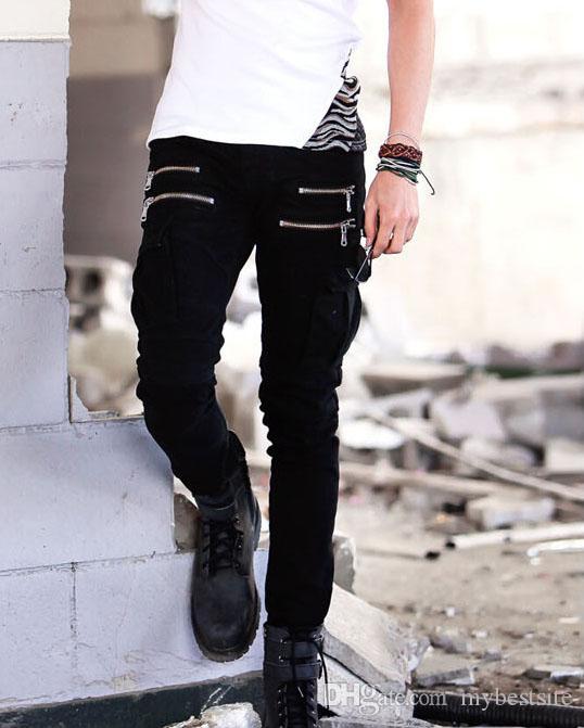 Herrenmode Runway Shiny Golden Coated geölt Stretch Mode Männer Slim Jeans Biker Jeans