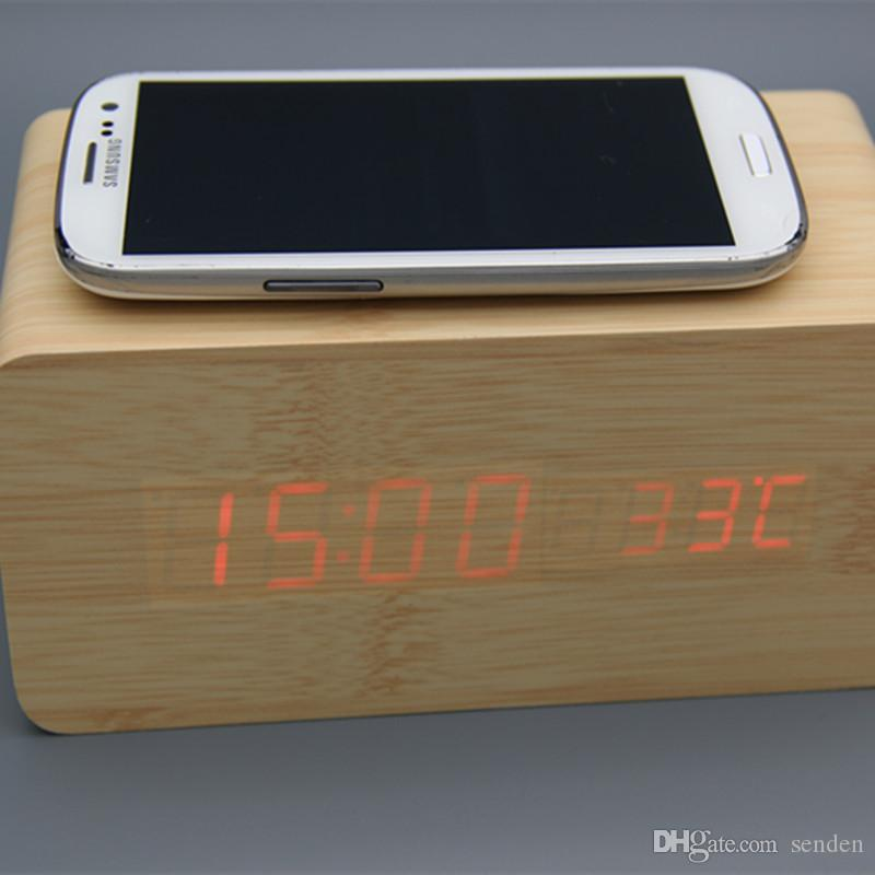 Multifunctional wooden alarm clock wireless charger Wood Cube LED Alarm Clock Thermometer Timer Calendar wireless QI charging for Smartphone