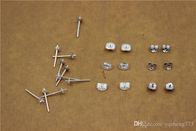 925 jóias de prata esterlina Brinco Pós Rodada Ear Stud Tigela Descobertas Base de 10mm Tom de Prata 10 pares / pacote