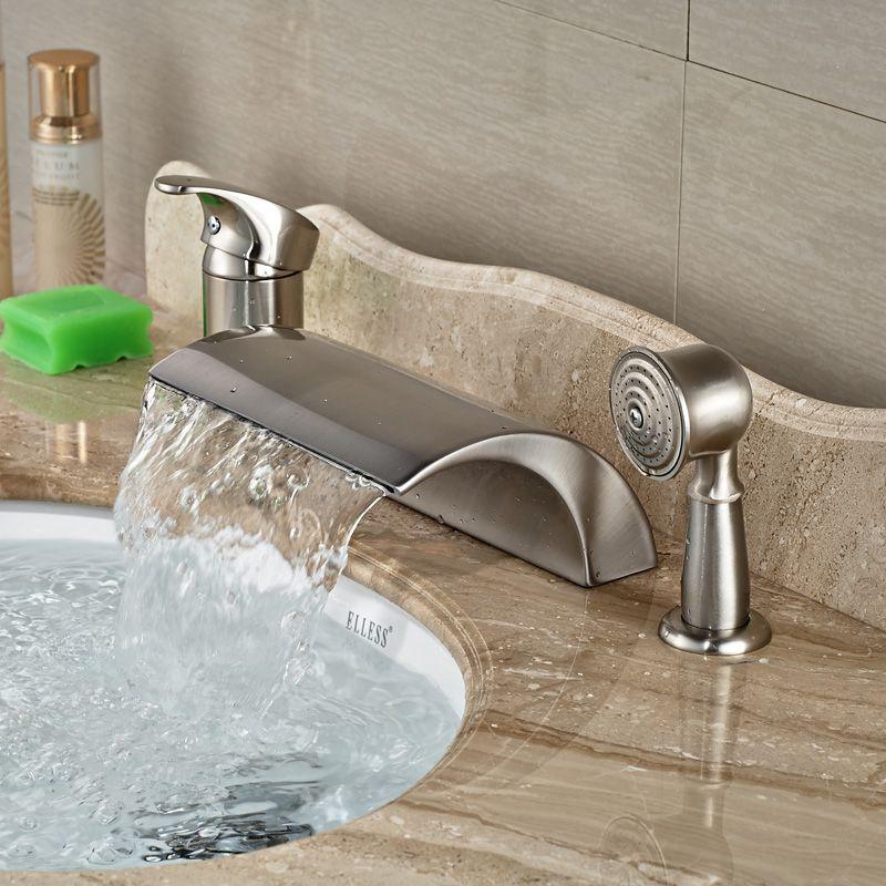 2018 Factory Direct Sale Bathroom Tub Faucet Brushed Nickel Deck ...