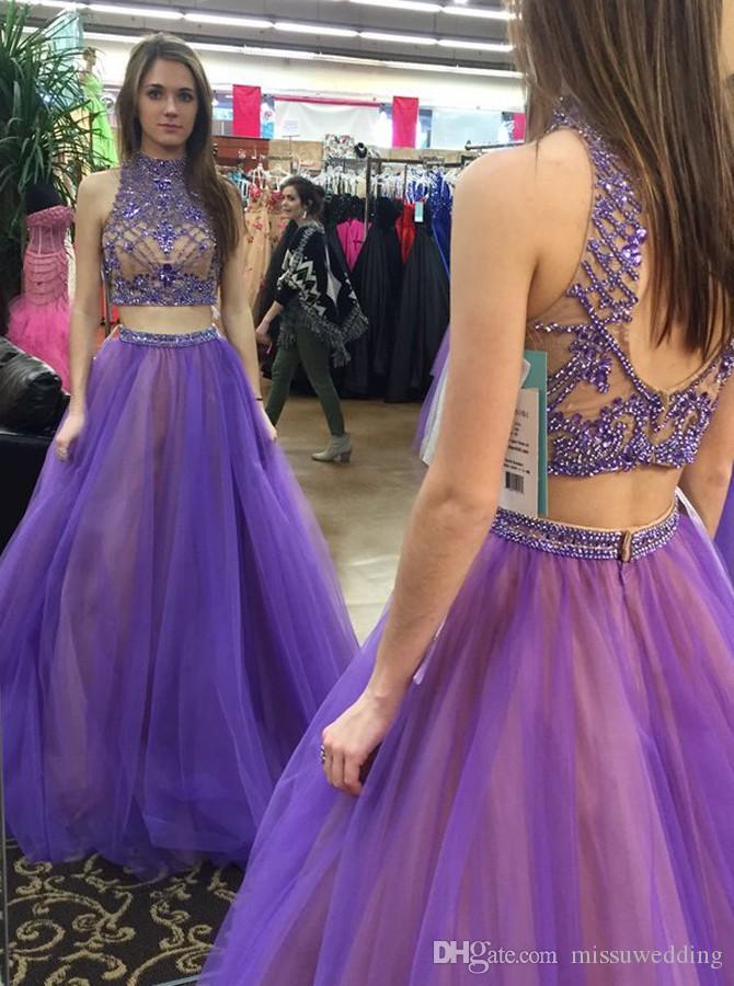 Compre Elegante Vestido De Fiesta De Dos Piezas De Cuello Alto Hasta ...