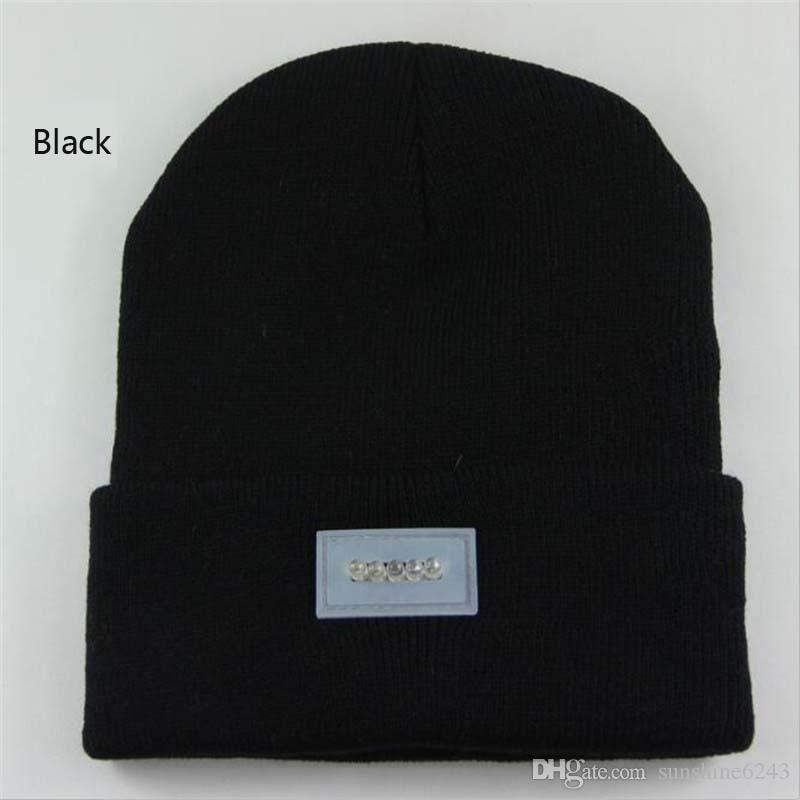 5 LED Light-emitting Beanies Knit Acrylic Hat Winter Hands Warm Angling Hunting Camping Running Caps