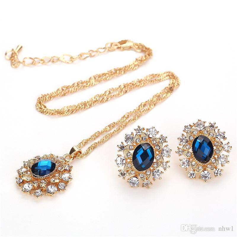 European Gemstone Wedding Bridal Jewelry Sets pour femmes Lady cristal flocon de neige pendentif collier boucles d'oreilles avec cadeau strass