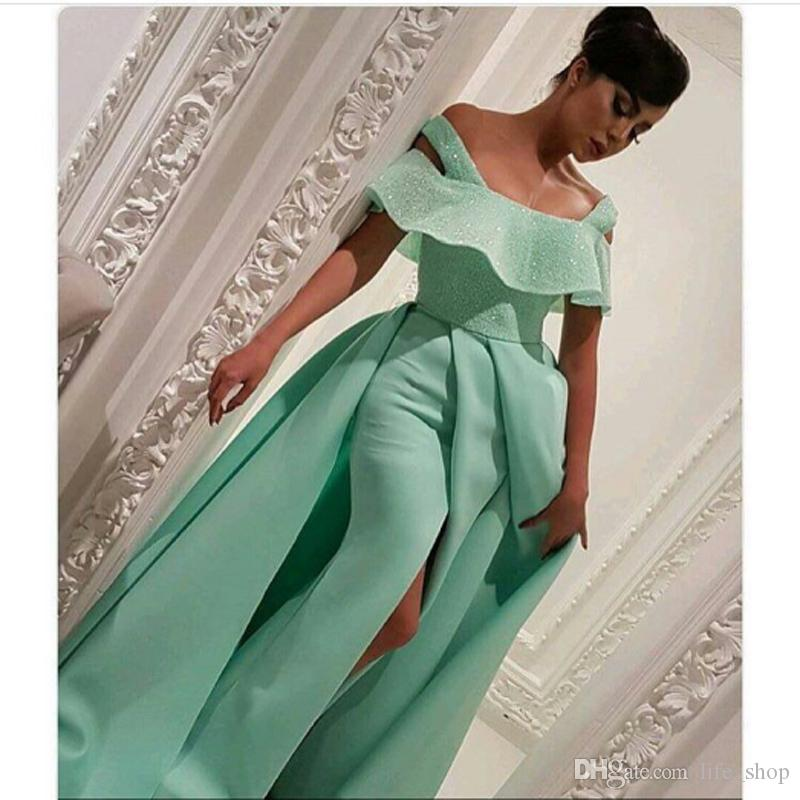 2017 Mint Verde Vestidos de Noite Bateau Pescoço Sexy Bling Frisado Frisado Sereia Até O Chão Vestidos de Noite Custom Made