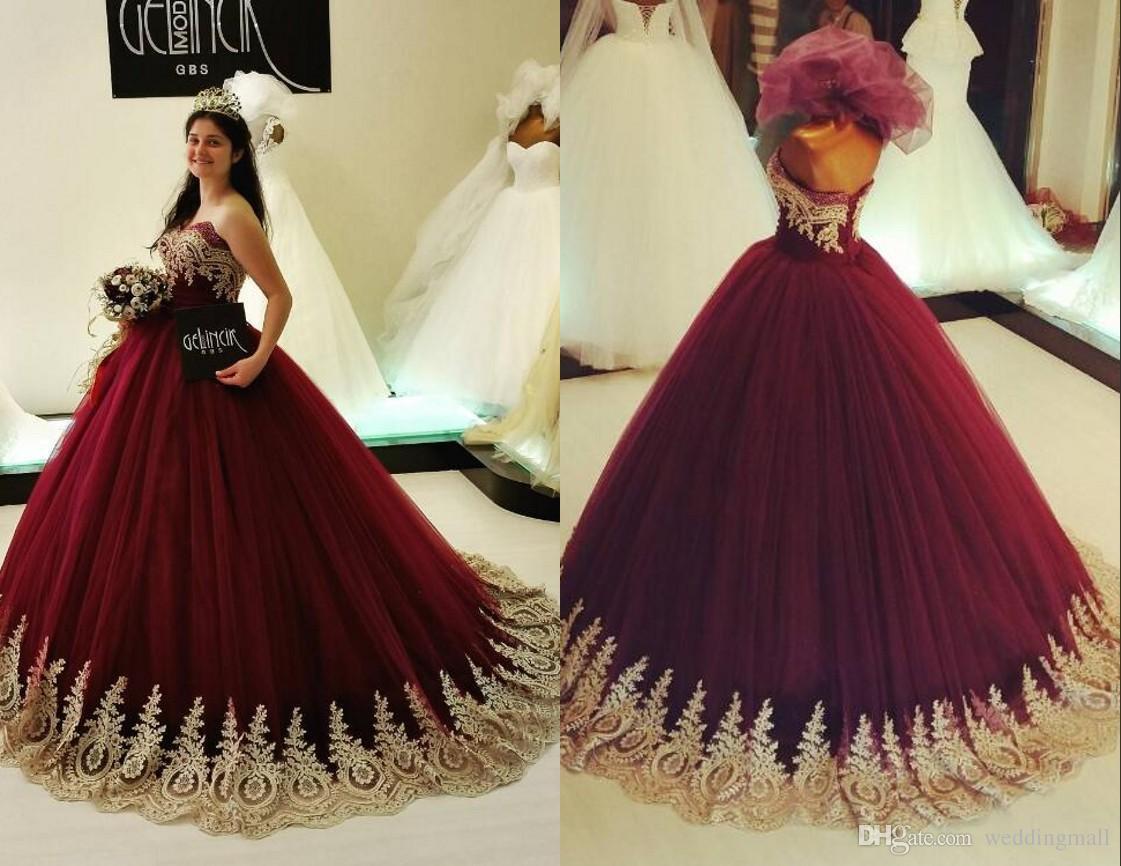 Burgundy Lace Beaded Arabic Wedding Dresses Sweetheart