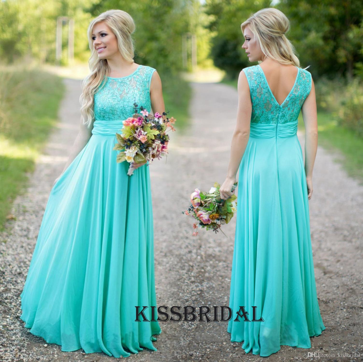 Turquoise long chiffon country bridesmaid dresses 2016 lace jewel turquoise long chiffon country bridesmaid dresses 2016 lace jewel neck zipper back a line floor ombrellifo Choice Image