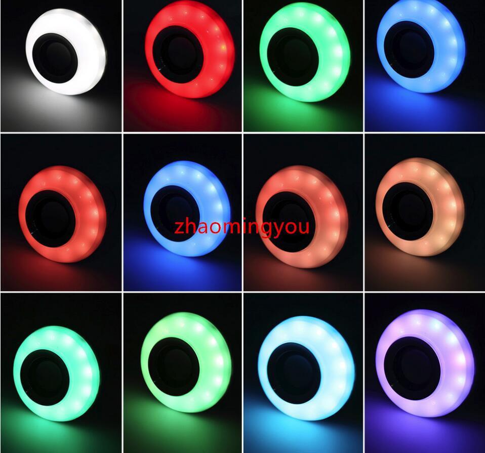 E27 12W sans fil Bluetooth télécommande Mini Smart LED Haut-parleur audio RGB Couleur Lumière Chaude Ampoule Lampe de musique