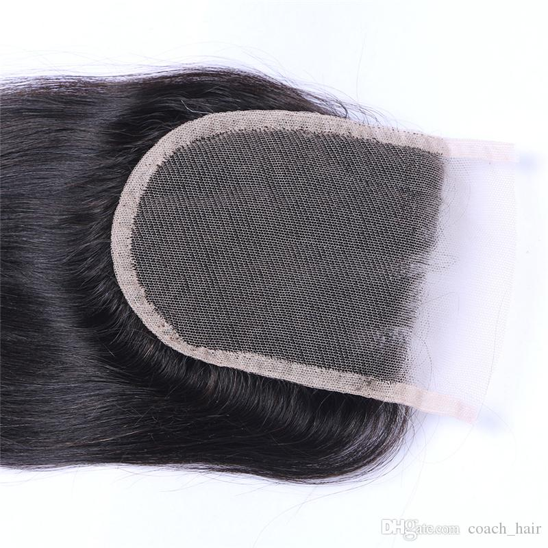 4*4 Three Part Straight Lace Closure With Baby Hair 130 Medium Density Malaysian Straight Top Closure Hair Pieces