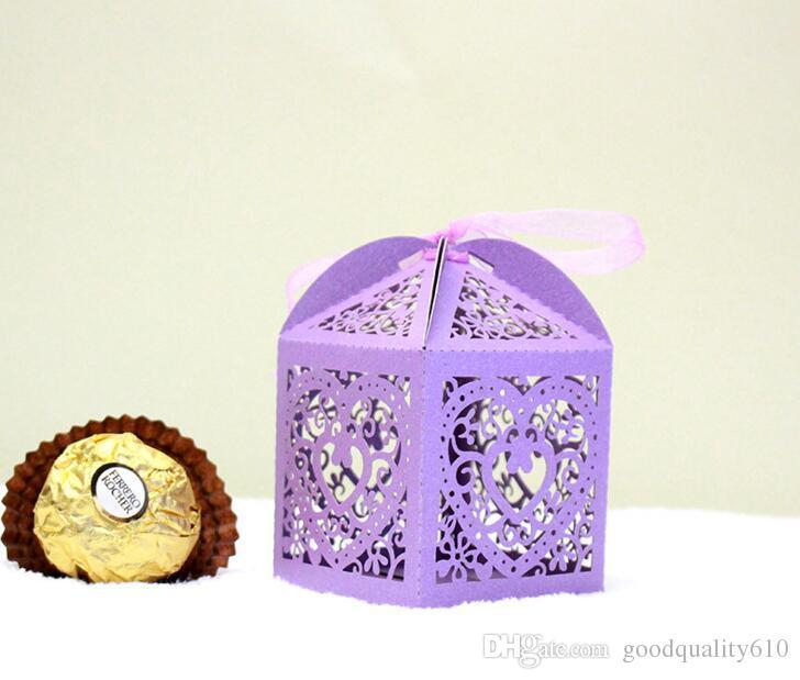 Scatola di cioccolatini cuore fiore scatola di cioccolatini cuore tagliato al con nastro la festa di nozze baby shower regalo di favore