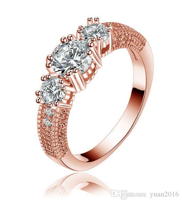 Anillo de bodas de platino plateado o bañado en oro rosa 3 grandes anillos de promesa de clúster de diamantes simulados para mujeres