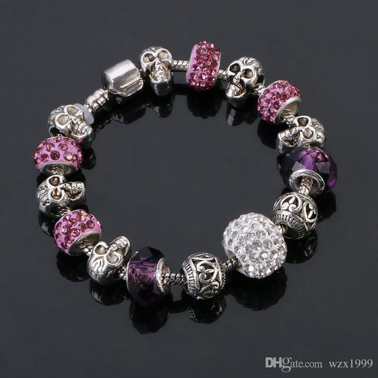 DIY Schmuck 925 Silber Schädel Armband, Armreif, europäische Charme Armbänder Perlen Passend für DIY Perlen Pandora Armbänder für Frauen