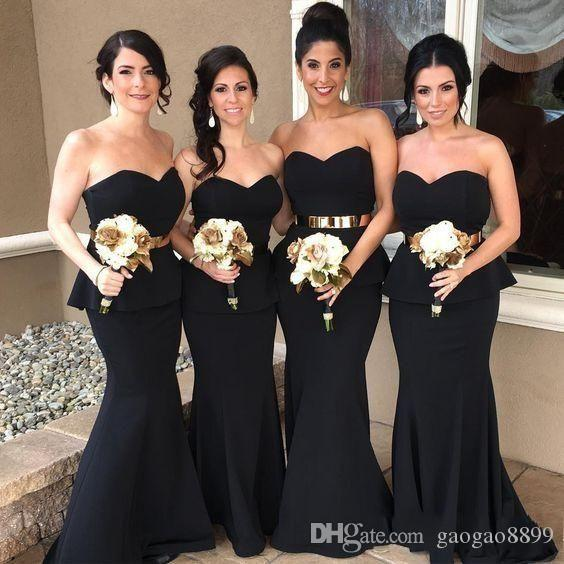 2017 Black Elegant Mermaid Arabic Long Bridesmaid Dresses Sweetheart Gold Belt Satin Bridesmaid Dress Cheap Prom Party Wedding Guest Dress