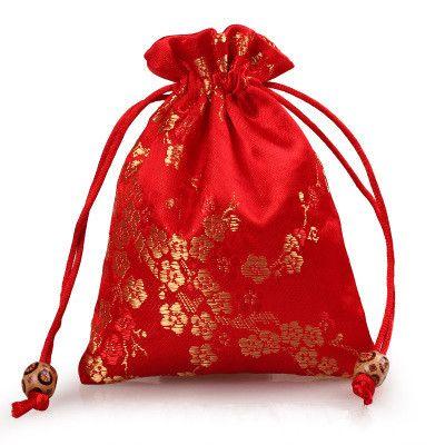 Cereja elegante Flores Pequeno Saco de Presente Com Cordão De Seda brocado Jóias Sacos De Armazenamento De Pano De Embalagem bolsa de Moeda Bolso com Forrado 11x14 cm