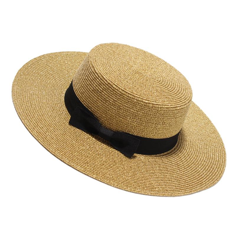 Wholesale 2017 Sun Hat For Women Fashion Gold Flat Summer Hats Ladies Wide  Brim Beach Caps With Bow Chapeu Feminino Black Floppy Hat Flat Bill Hats  From ... 0cd9268520b