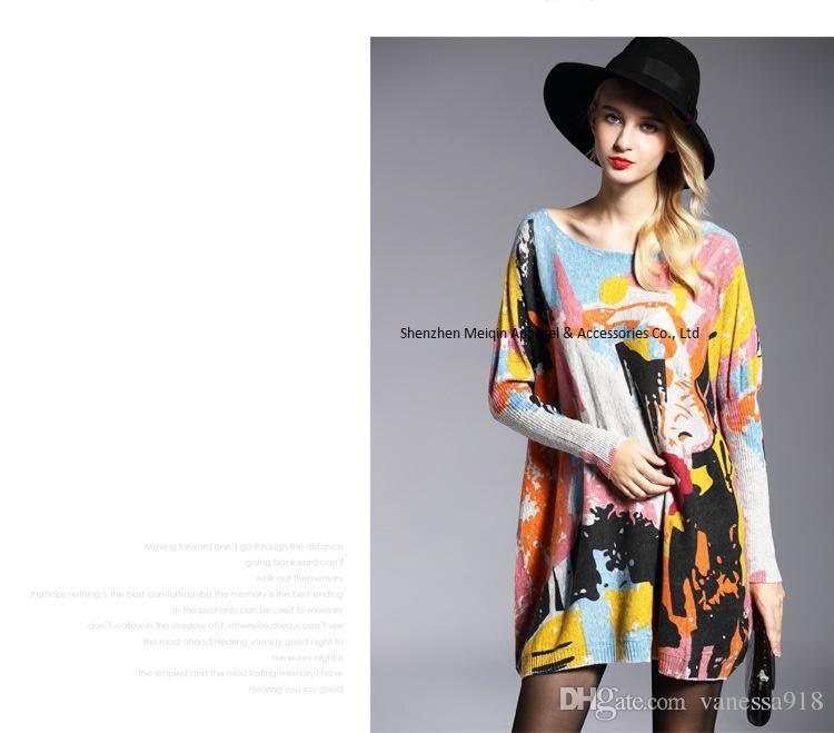 Print Pullover Frauen Pullover langes Design Pullover Kleid plus Größe lose grundlegende Pullover Winter Hohe Qualität Frühling Herbst Wolle bluten HX01