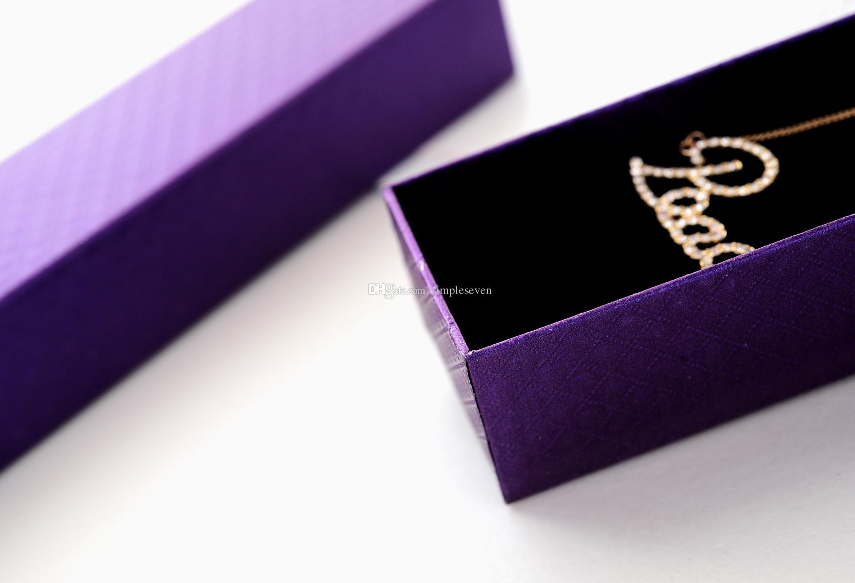 [Simple Seven] Classic Purple Diamond Pattern Necklace Box/Festival Jewelry Bracelet Packing/ Trend Pedant Package/ Gift Long Carrying Case